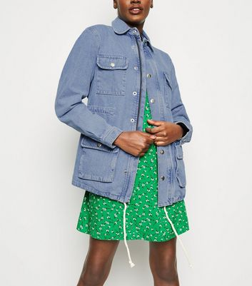Blue Denim Longline Utility Jacket