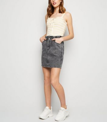 Black Acid Wash Paperbag Denim Skirt