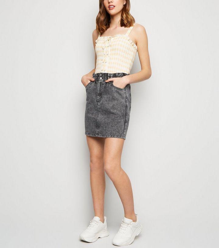 8a171e774e3fd Black Acid Wash Paperbag Denim Skirt | New Look