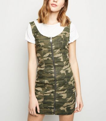 Green Camo Zip Front Bodycon Dress