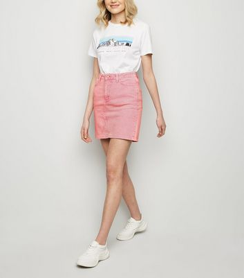 Pink Acid Wash Denim Mom Skirt