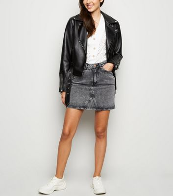Black Acid Wash Denim Mom Skirt
