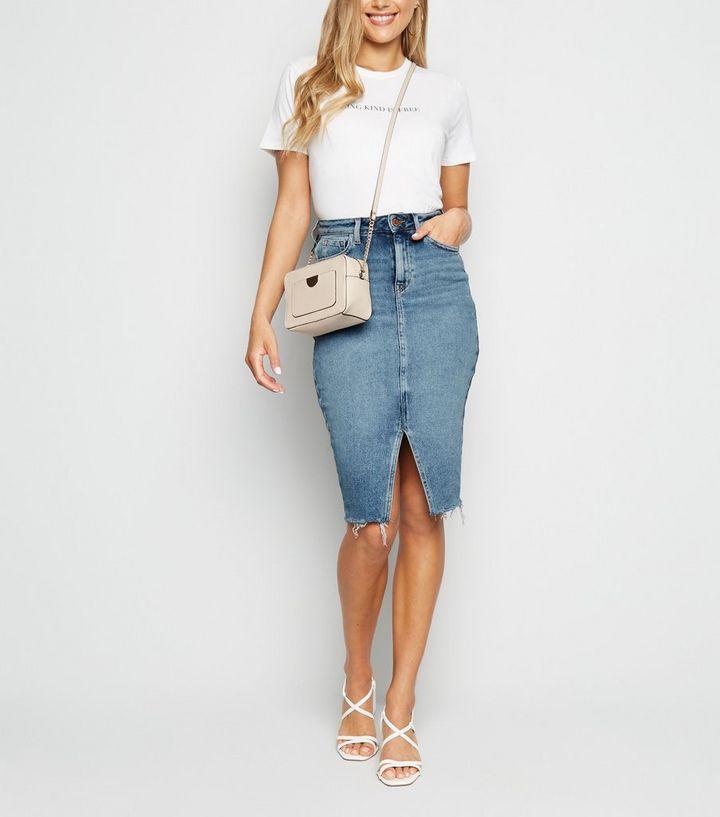 82927b49f Blue Split Front Denim Pencil Skirt | New Look