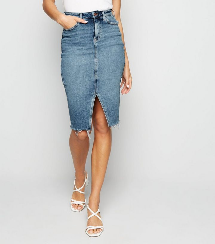 unbeatable price pretty and colorful buy popular Blue Split Front Denim Pencil Skirt Add to Saved Items Remove from Saved  Items