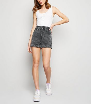 Black Acid Wash Paperbag Denim Shorts