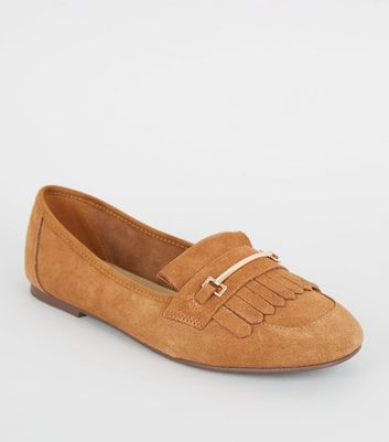 Tan Suede Tassel Bar Trim Loafers