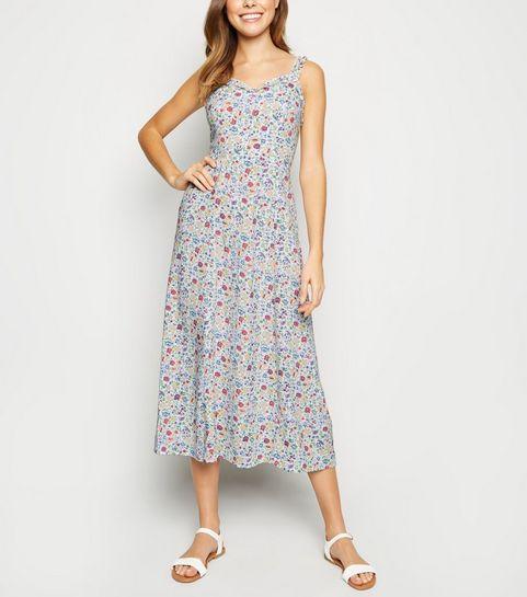 5b8f44d69d1e ... White Floral Frill Trim Midi Dress ...