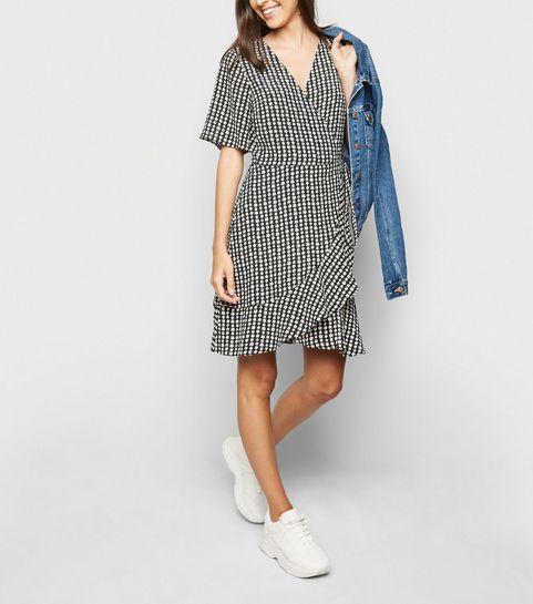 5b374312883b Black Daisy Wrap Dress · Black Daisy Wrap Dress ...