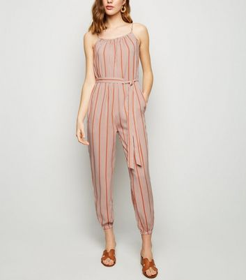Brown Stripe Cuffed Leg Jumpsuit