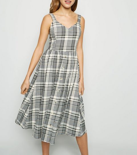 c4c79fa05d ... White Check Button Front Midi Dress ...