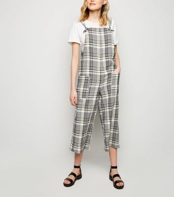 White Check Print Dungaree Jumpsuit