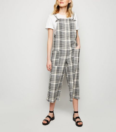 33b33ce5ab92 ... White Check Print Dungaree Jumpsuit ...