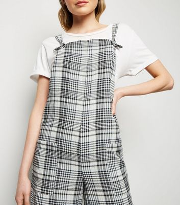 White Check Print Dungaree Jumpsuit New Look