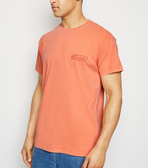 17d8e62081c ... Coral Washed Brooklyn Slogan T-Shirt ...