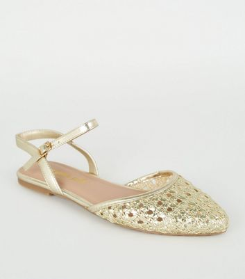 Gold Woven 2 Part Ballet Pumps