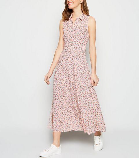 a73d9f14cc9 ... White Ditsy Floral Print Midi Shirt Dress ...