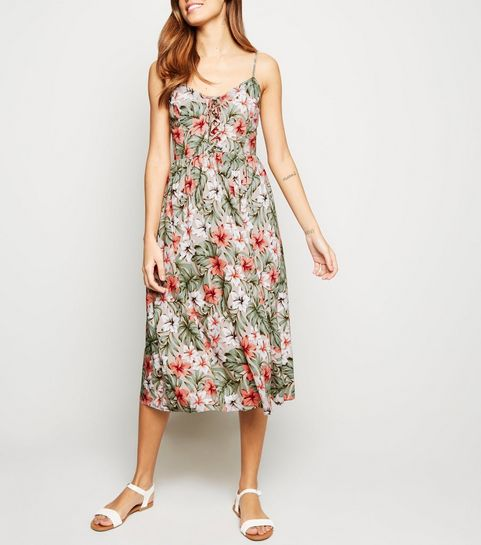 d9977087f9 ... Brown Floral Lattice Front Midi Dress ...