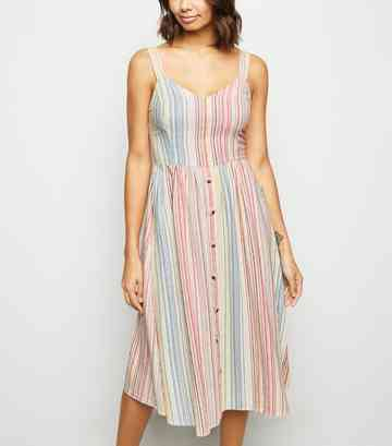White Stripe Linen Blend Button Midi Dress