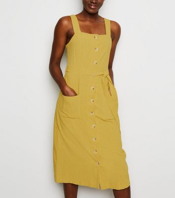 Yellow Grid Check Button Up Midi Dress