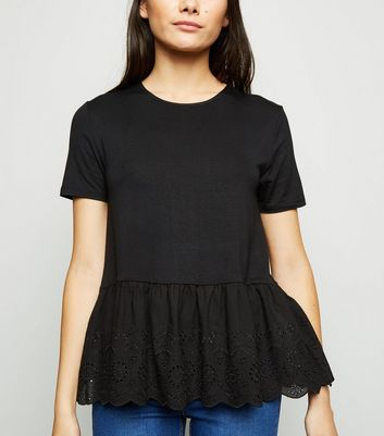 Black Broderie Peplum Top