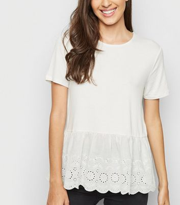 Cream Broderie Peplum Top