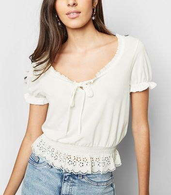 Cream Broderie Milkmaid Crop Top