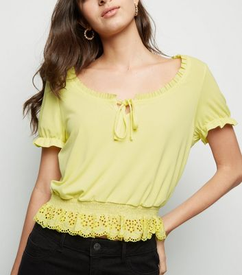 Yellow Broderie Milkmaid Crop Top