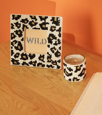 Brown Beaded Leopard 4x4 Photo Frame