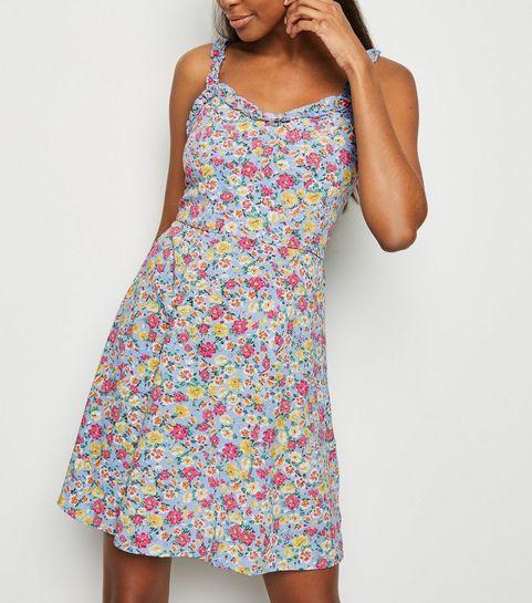 16ed03275e50 ... Blue Ditsy Floral Frill Sundress ...