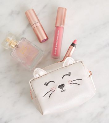 Pale Pink Cat Mini Make-Up Bag