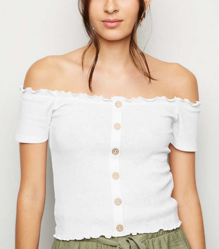 0f3c0fab641 White Ribbed Button Bardot Top | New Look