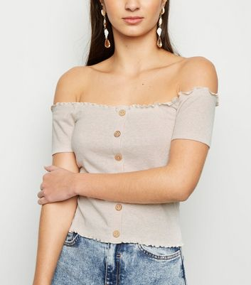 Cream Ribbed Button Bardot Top
