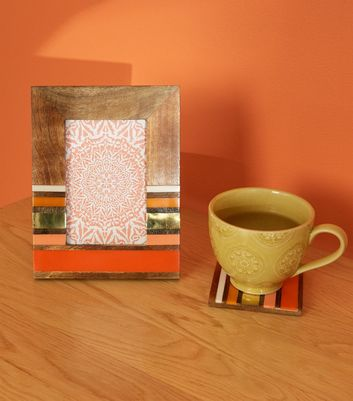 Orange Metal Stripe Coaster