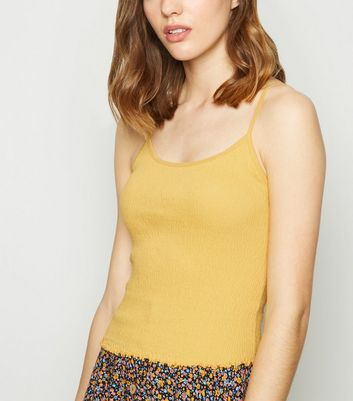 Yellow Shirred Frill Trim Cami