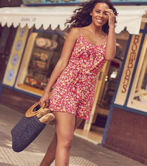 e7bb2854ac24 ... Red Floral Print Tie Playsuit ...