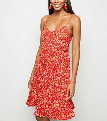 Red Floral Crinkled Tiered Sundress