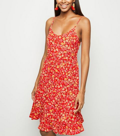 478941e7d801 ... Red Floral Crinkled Tiered Sun Dress ...