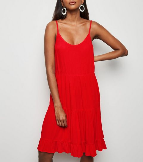 8eb7ea3547 Red Tiered Crepe Sundress · Red Tiered Crepe Sundress ...