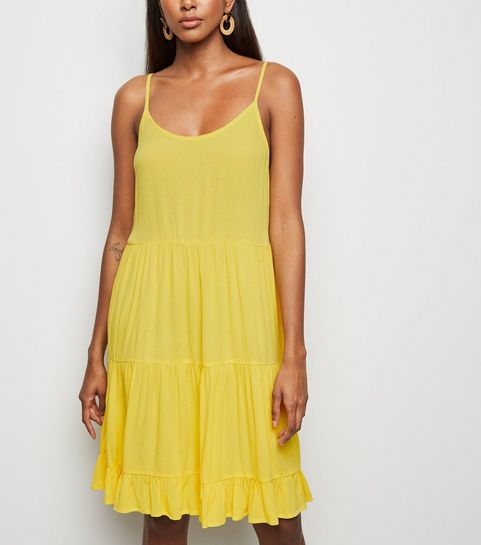 8306aec3f97 Yellow Tiered Crepe Sundress · Yellow Tiered Crepe Sundress ...
