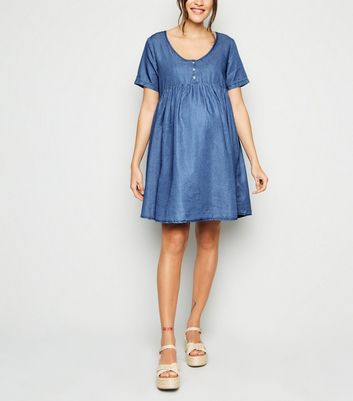 Maternity Blue Denim Button Up Smock Dress
