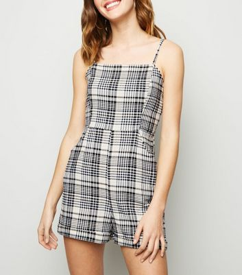 White Check Crinkled Playsuit