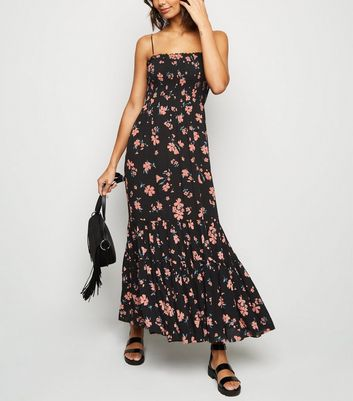 Black Daisy Shirred Tier Maxi Dress