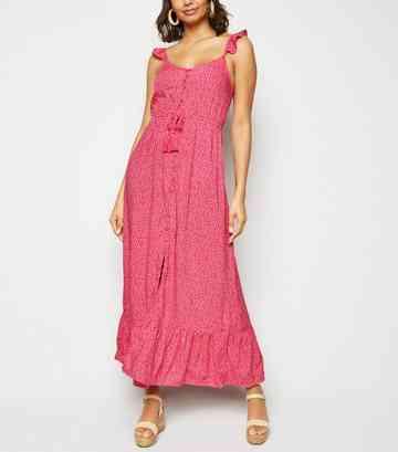 d6a5364903 Pink Floral Button Up Frill Maxi Dress ...