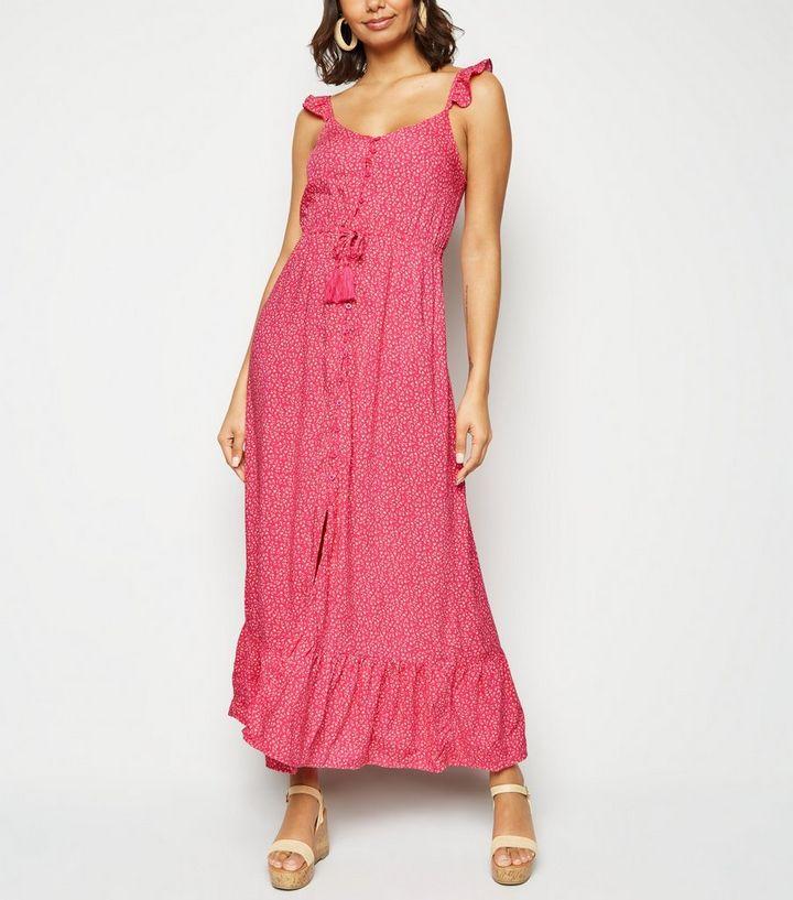 d360515c7d1f Pink Floral Button Up Frill Maxi Dress   New Look