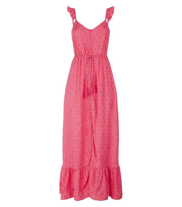 f49506a06c ... Pink Floral Button Up Frill Maxi Dress. ×. ×. ×. Shop the look