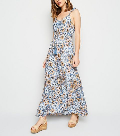 60f56d1e13b ... Blue Tropical Floral Button Up Maxi Dress ...