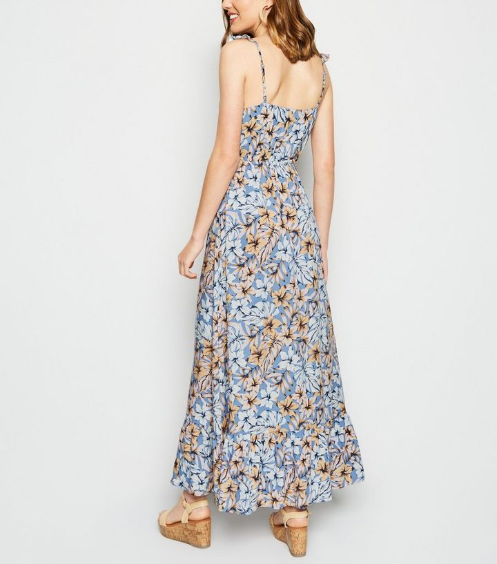 960c6926c07 Blue Tropical Floral Button Up Maxi Dress Add to Saved Items Remove from  Saved Items