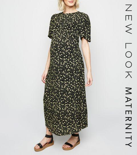 ... Maternity Black Ditsy Floral Split Side Midi Dress ... 1abcf39f3f38