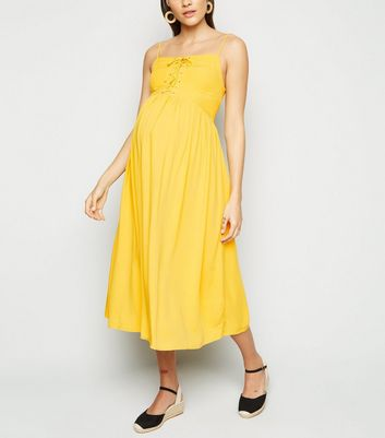Maternity Yellow Lace Up Front Midi Dress