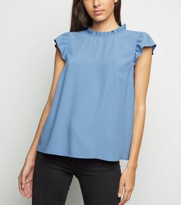Pale Blue Frill Trim Sleeveless Top